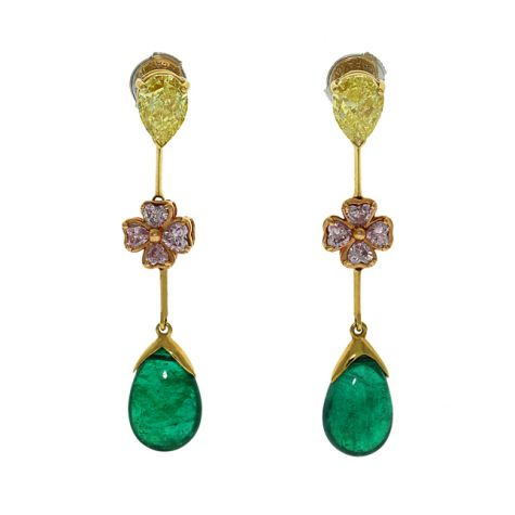 CERTIFIED - 18ct Gold 2.10ct Diamond & Emerald Drop Earrings