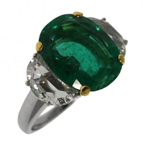 18ct Gold 5.69ct Emerald & 1.27ct Diamond Cocktail Ring -Certified