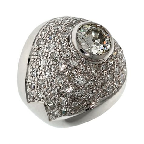 18ct Gold 5.19ct Diamond Cocktail Cluster Ring - Certified Size J