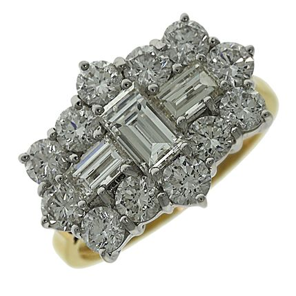 CERTIFIED 18ct Yellow Gold 3.06ct High Set Diamond Cluster Ring