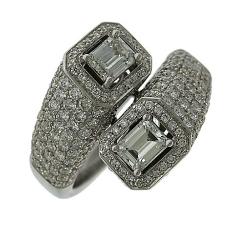 18ct Gold 2.94ct Diamond Cocktail Crossover Ring - Certified
