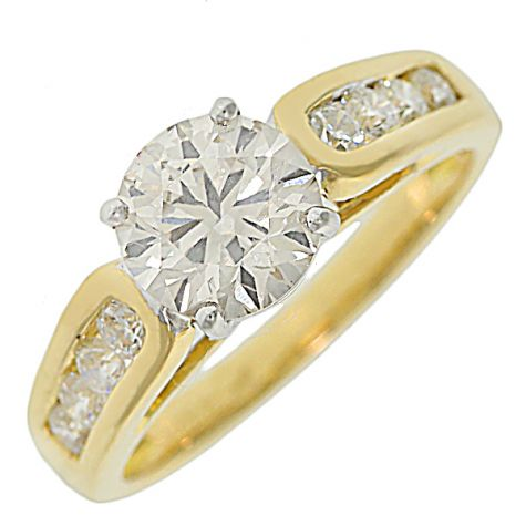 CERTIFIED 18ct Yellow Gold 1.85ct Diamond Engagement Ring-Size M