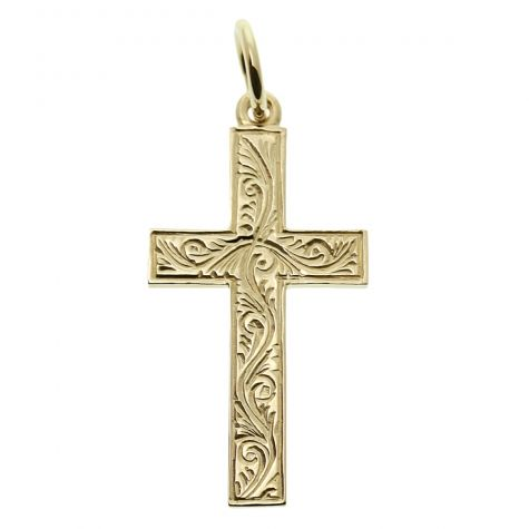 9ct Yellow Gold Ornate Patterned Solid Classic Cross Pendant
