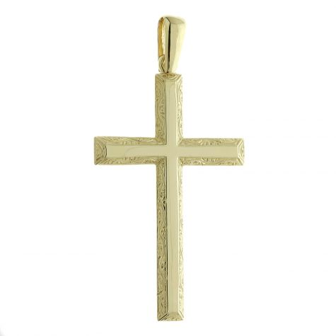 Solid 9ct Yellow Gold Patterned Beveled Edge Cross Pendant