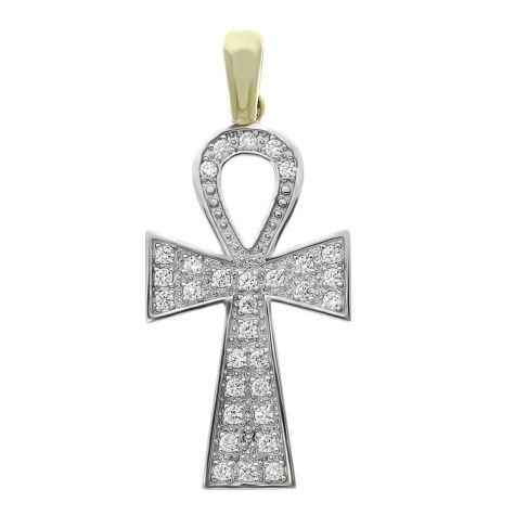 9ct Gold Gem-set Polished Solid Ankh Cross Pendant - 52mm