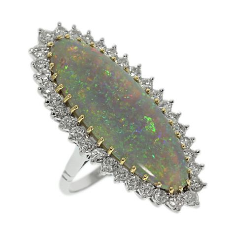 CERTIFIED 18ct Gold 8.86ct Opal & Diamond Cocktail Ring - Size O