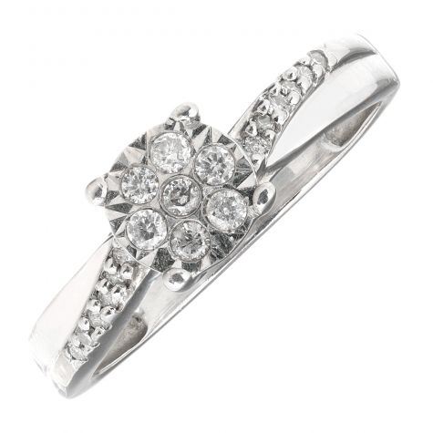 Pre-Owned 9ct Gold 6mm 0.22ct Diamond Cluster Engagement Ring