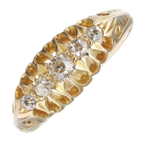 Vintage 18ct Yellow Gold 0.30carat Diamond Unique 5 Stone Ring