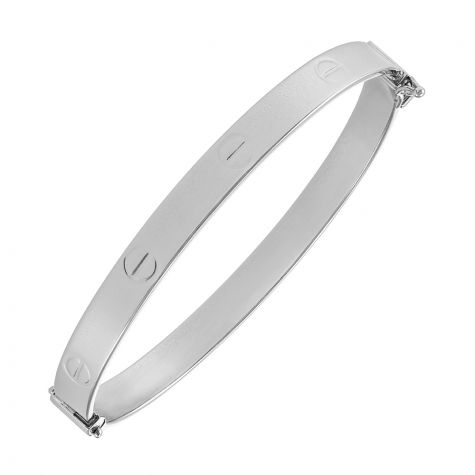 "9ct White Gold Polished Screw Bangle - 6mm - 6.75""- Ladies Size"