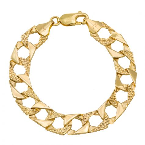 """9ct Gold Textured Square Child's Curb Bracelet - 6"""" - 8mm"""