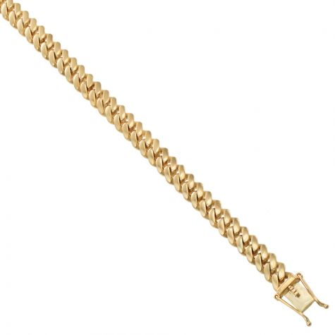 9ct Solid Yellow Gold Classic Cuban Link Curb Chain - 8.5mm - 22""