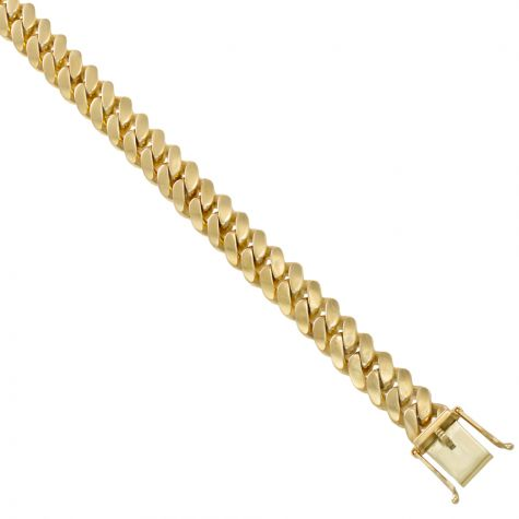 "9ct Solid Yellow Gold Classic Cuban Link Curb Chain - 22"" - 11mm"