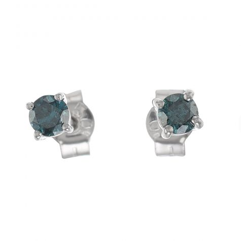 New 18ct White Gold 0.34ct Blue Diamond Stud Earrings