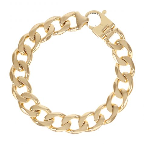Solid 9ct Yellow Gold Heavy Classic Curb Bracelet - 15mm - 9""