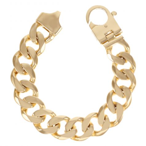 9ct Yellow Gold Solid Heavy Classic Curb Bracelet - 19mm -  8.25""