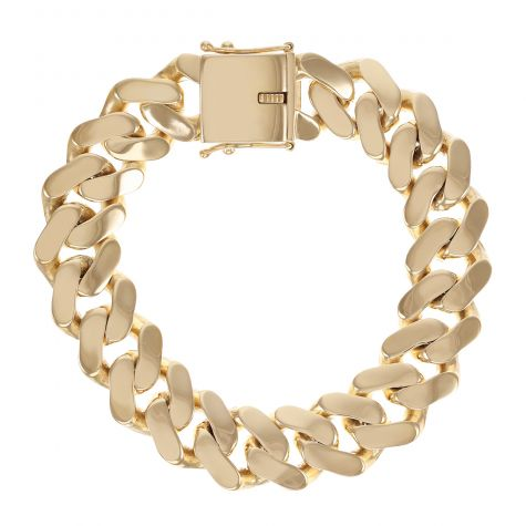 SOLID Large 9ct Gold Heavy Miami Cuban Link Bracelet - 17mm -9.5""