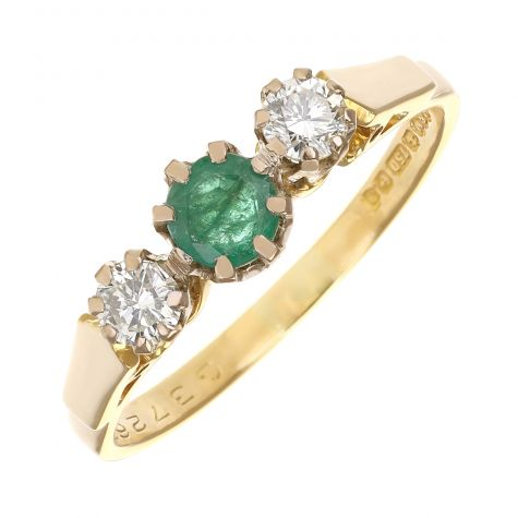 Vintage 18ct Gold 0.35ct Emerald & 0.30ct Diamond Trilogy Ring