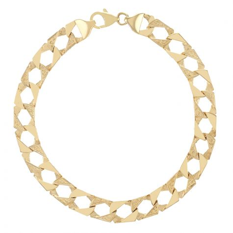 """9ct Gold Textured Square Curb Bracelet - 9mm - 6.5"""" - Childs"""