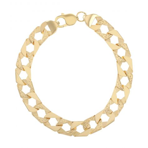 """Solid 9ct Gold Child's Textured Square Curb Bracelet - 6.5"""" -10mm"""