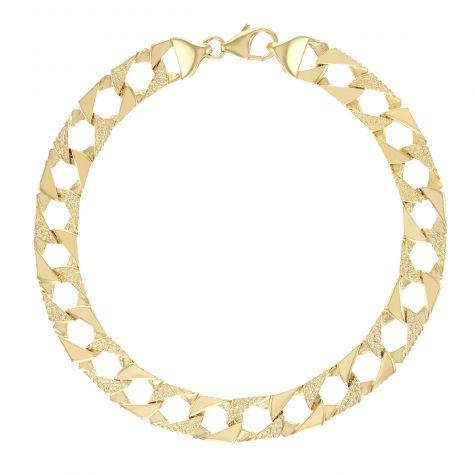 "9ct Gold Solid Patterned Square Curb Bracelet - 9mm - 8.5"" - Gents"