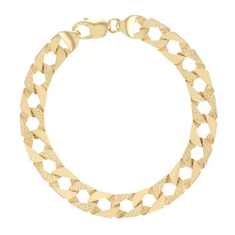 """9ct Gold Solid Patterned Square Curb Bracelet -10mm - 7.5"""" - Ladies"""