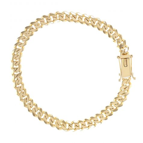 "Solid 9 ct Yellow Gold Cuban Link Bracelet - 6 mm - 8"" Gents"