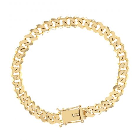 "9ct Yellow Solid Gold Miami Cuban Link Bracelet -8.5mm- 9"" -Gents"