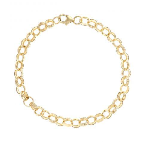 """9ct Gold Solid Patterned Belcher Bracelet - 7.5mm - 6.5"""" - Childs"""