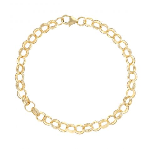 "9ct Gold Solid Patterned Belcher Bracelet - 7.5mm - 8"" - Ladies"