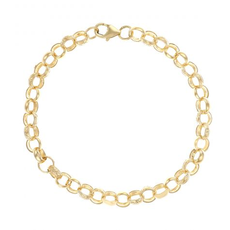 "9ct Gold Solid Patterned Belcher Bracelet - 7.5mm - 6.5"" - Childs"