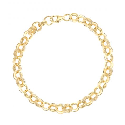 "9ct Yellow Gold Men's Textured Belcher Bracelet - 9"" - 8mm"