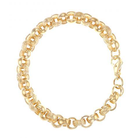 """9ct Gold Tight Link Ornate Belcher Bracelet - 9mm - 8.25"""" - Gents"""