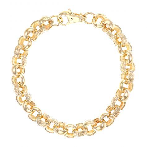 """9ct Gold Large Men's Textured Belcher Bracelet - 9.25"""" - 10mm"""