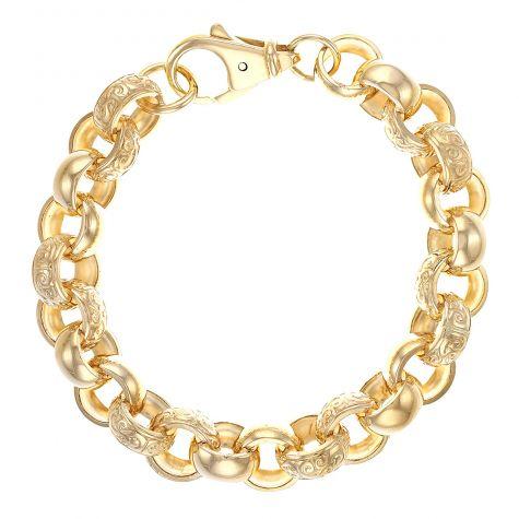 """9ct Gold Solid Patterned Belcher Bracelet - 15mm - 10"""" - Gents"""
