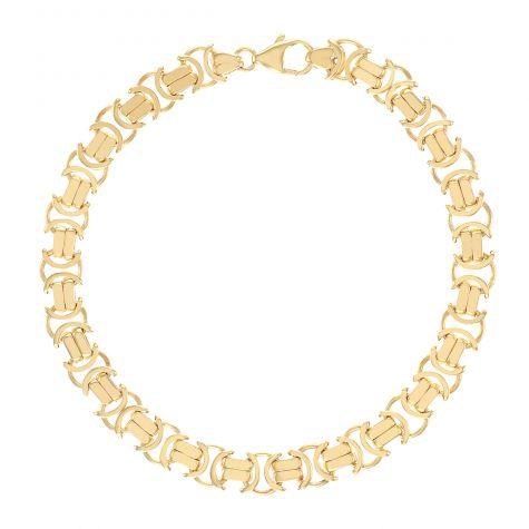 "9ct Gold Ladies Heavy Flat Byzantine Link Bracelet - 7.5"" - 8mm"