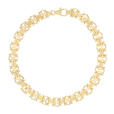 "Solid 9ct Gold Gents Flat Byzantine Link Bracelet - 8.5"" - 8mm"