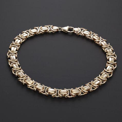 "9ct Gold Mens Flat Byzantine Link Bracelet - 9"" - 8mm"
