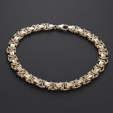 "9ct Yellow Gold Solid Byzantine Bracelet - 9"" - 8mm - Men's Size"