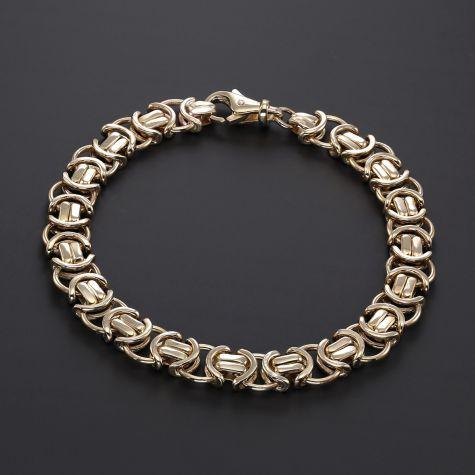 """9ct Gold Men's Flat Byzantine Bracelet - 8.5""""  - 10mm"""