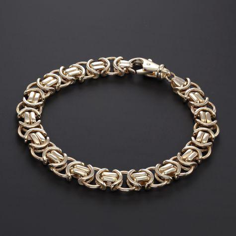 "Solid 9ct Yellow Gold Men's Flat Byzantine Bracelet - 8.5"" - 11mm"