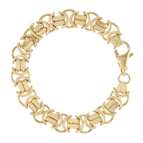 "9ct Gold Men's Large Flat Byzantine Bracelet - 8.75""  - 13mm"