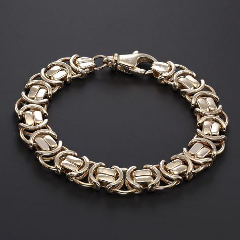 "9ct Gold Men's Large Flat Byzantine Bracelet - 9.25"" - 13mm"