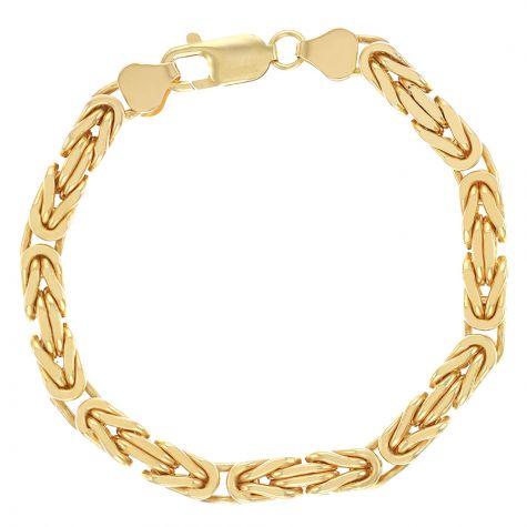 "Small 9ct Yellow Gold Italian Square Byzantine Bracelet- 7"" -6mm"