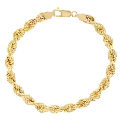 "9ct Yellow Gold Italian Classic Rope Bracelet - 8.5"" - 6mm - Gents"