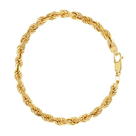 "SOLID 9ct Yellow Gold Italian Rope Bracelet - 5mm - 8.25"" UNISEX"