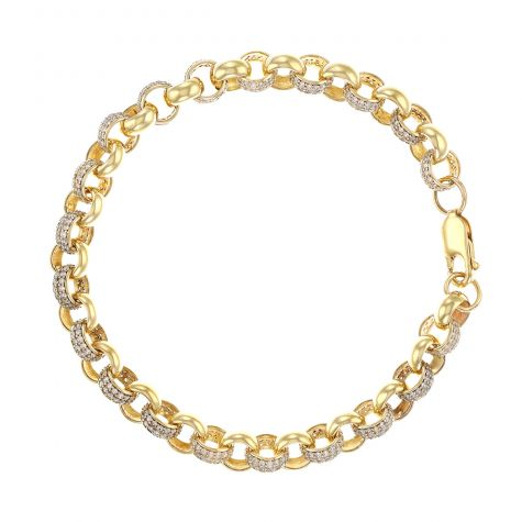 9ct Gold Junior's Gem-Set Belcher Link Bracelet - 7.5mm -7.5""