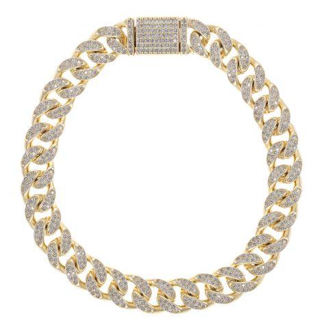 9ct Gold Men's Gem-Set Cuban Link Bracelet- 10mm - 8.25 inches