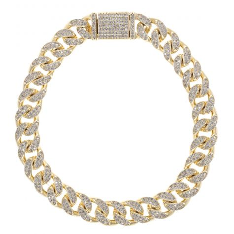 NEW 9ct Gold Men's Gem-Set Cuban Link Bracelet- 10mm -8.25 inches