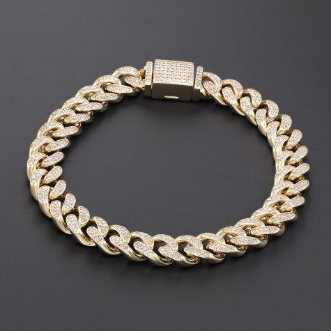 NEW 9ct Gold Men's Gem-Set Cuban Link Bracelet- 10mm -8.25 inches
