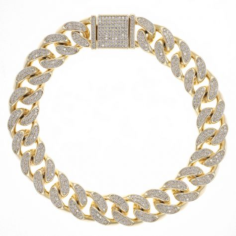 9ct Gold Men's Gem-Set Cuban Link Bracelet- 12mm  - 8.25""